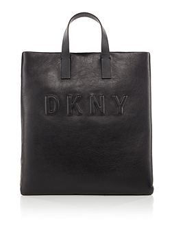 Debossed logo flapover tote bag