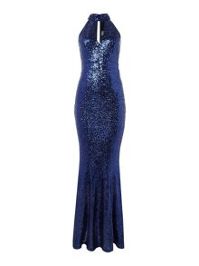Jessica Wright Sleeveless Choker Sequin Maxi Dress