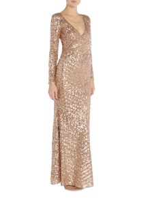 Jessica Wright Longsleeve Full Sequin Maxi Dress
