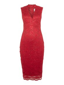 Jessica Wright Cap Sleeveless Choker Sequin Lace Bodycon Dress