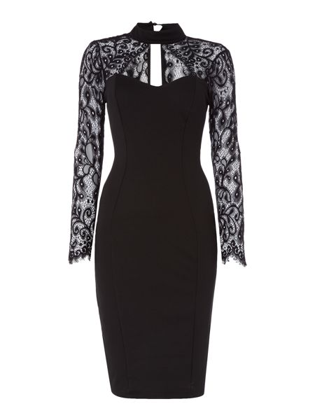 Jessica Wright Keyhole Longsleeve Choker Lace Bodycon Dress