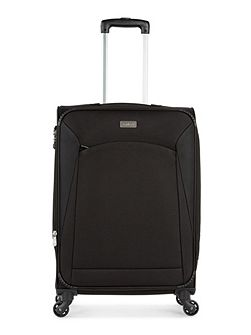 Lipari black 4 wheel soft medium suitcase