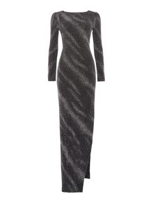 Jessica Wright Longsleeve Cowl Back Metallic Dress