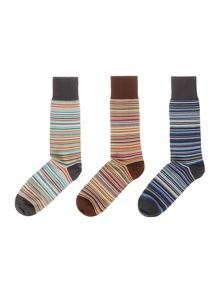Paul Smith London 3 Pack Multistripe Socks