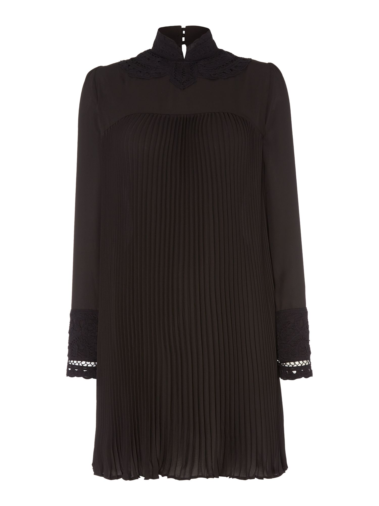 Biba Biba Victoriana pleated lace dress, Black