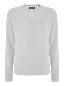 Original Penguin Peached-Panelled Long-Sleeve Henley T-shirt