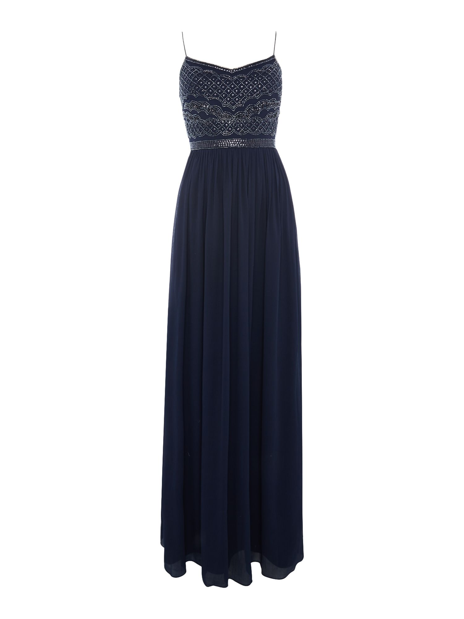 Adrianna Papell Beaded top gown with spaghetti straps, Midnight