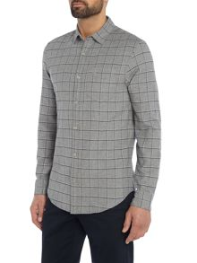 Original Penguin Brushed-Flannel Windowpane-Check Shirt