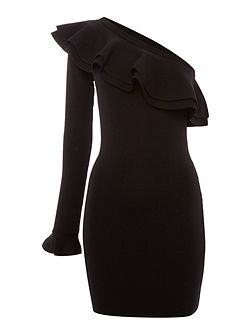 One Shoulder Thick Textured Bodycon Dress