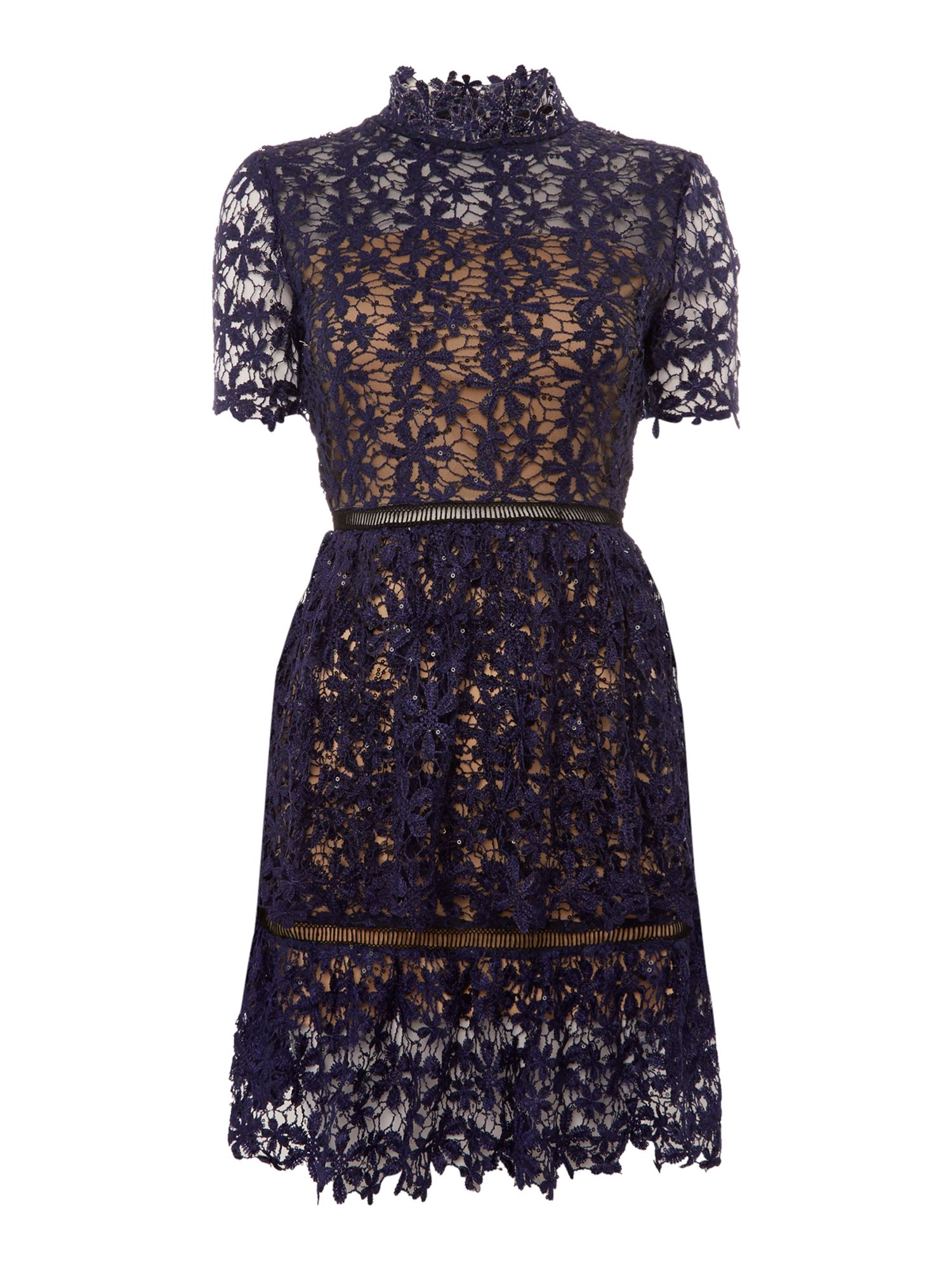Endless Rose Endless Rose Shortsleeve Lace And Sequin Detailed Dress, Navy