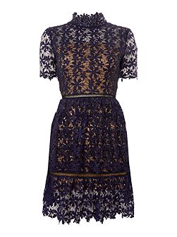 Shortsleeve Lace And Sequin Detailed Dress