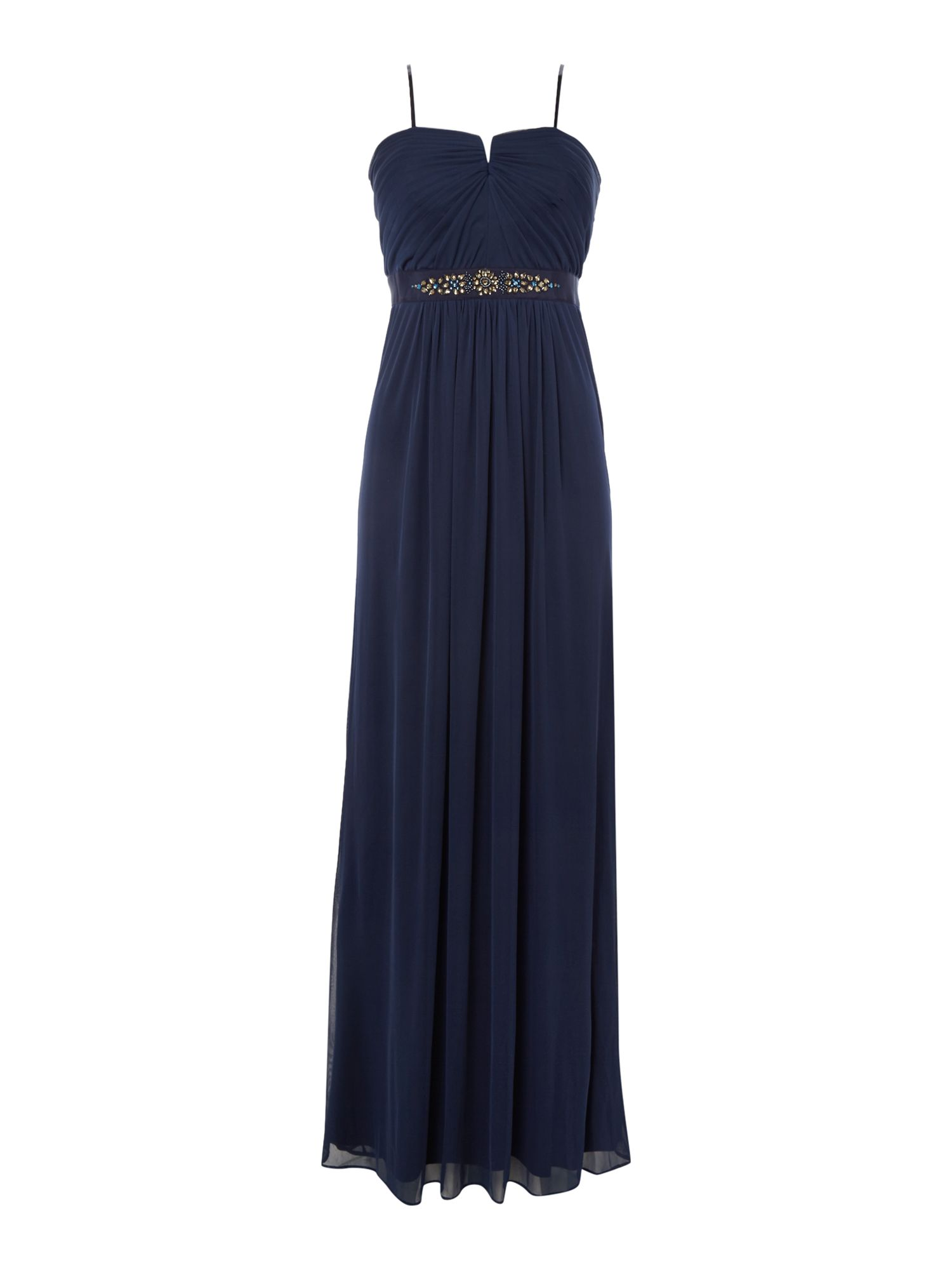 Adrianna Papell Strapless Beaded Waist Tulle Gown, Midnight Blue