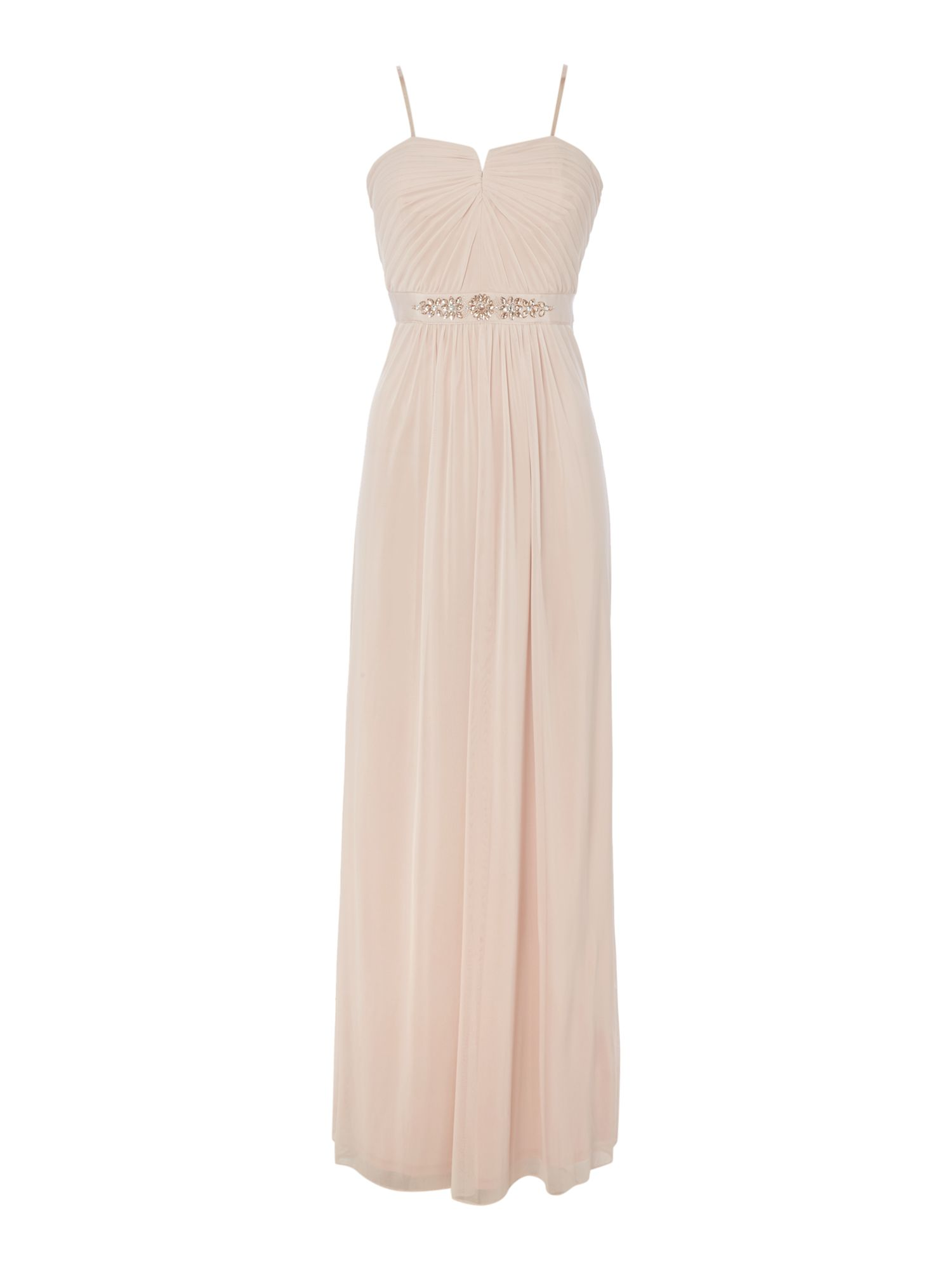 Adrianna Papell Strapless Beaded Waist Tulle Gown, Pink