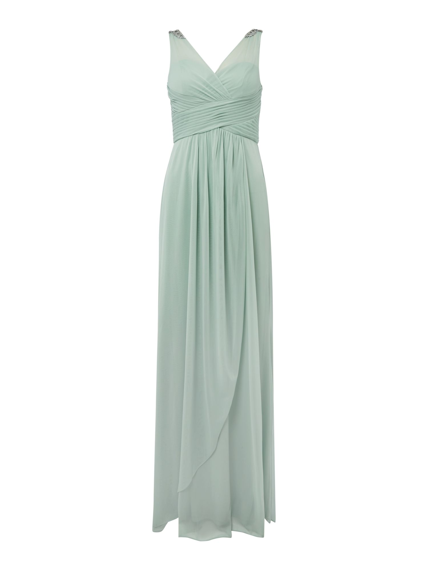 Adrianna Papell Adrianna Papell short sleeved V neck maxi dress, Mint