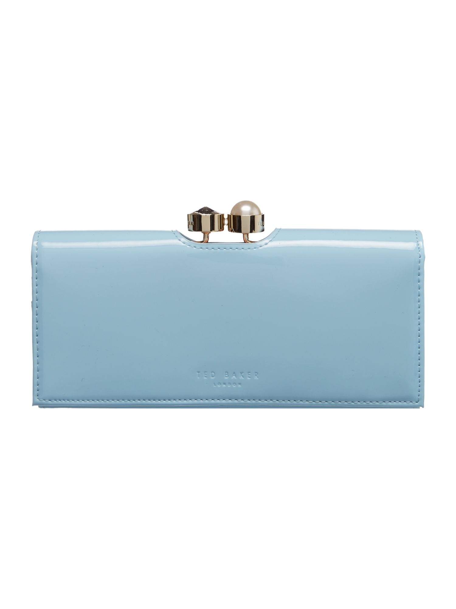 Ted Baker Elinorr large patent flapover purse Blue