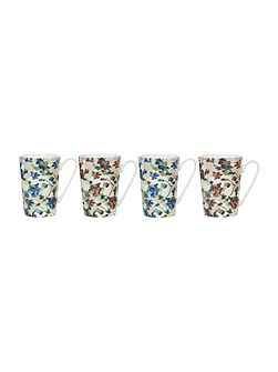 Painterly floral mugs set of 4