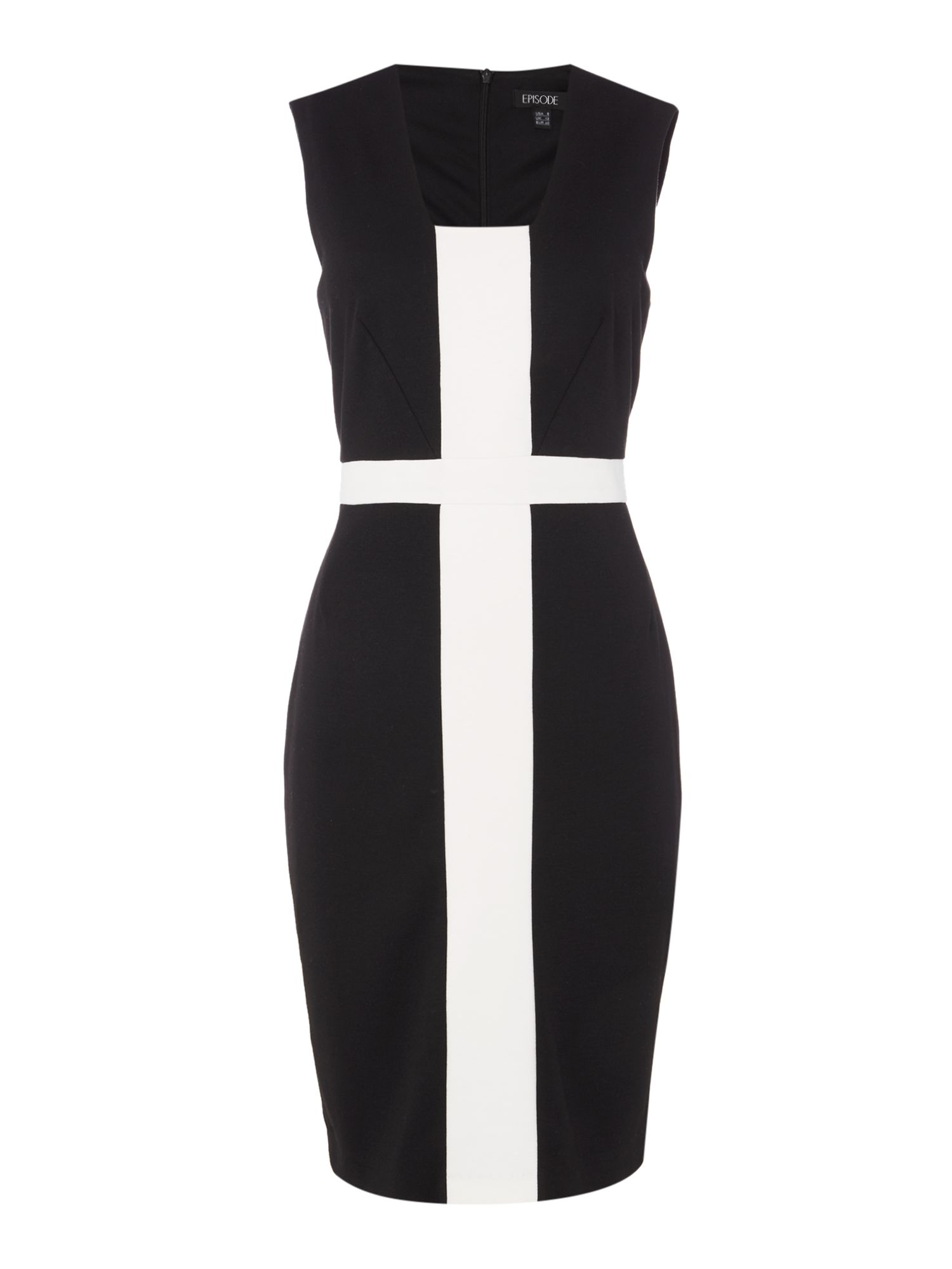 Episode Episode Sleeveless colour block shift dress, Black/White