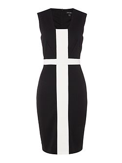 Sleeveless colour block shift dress