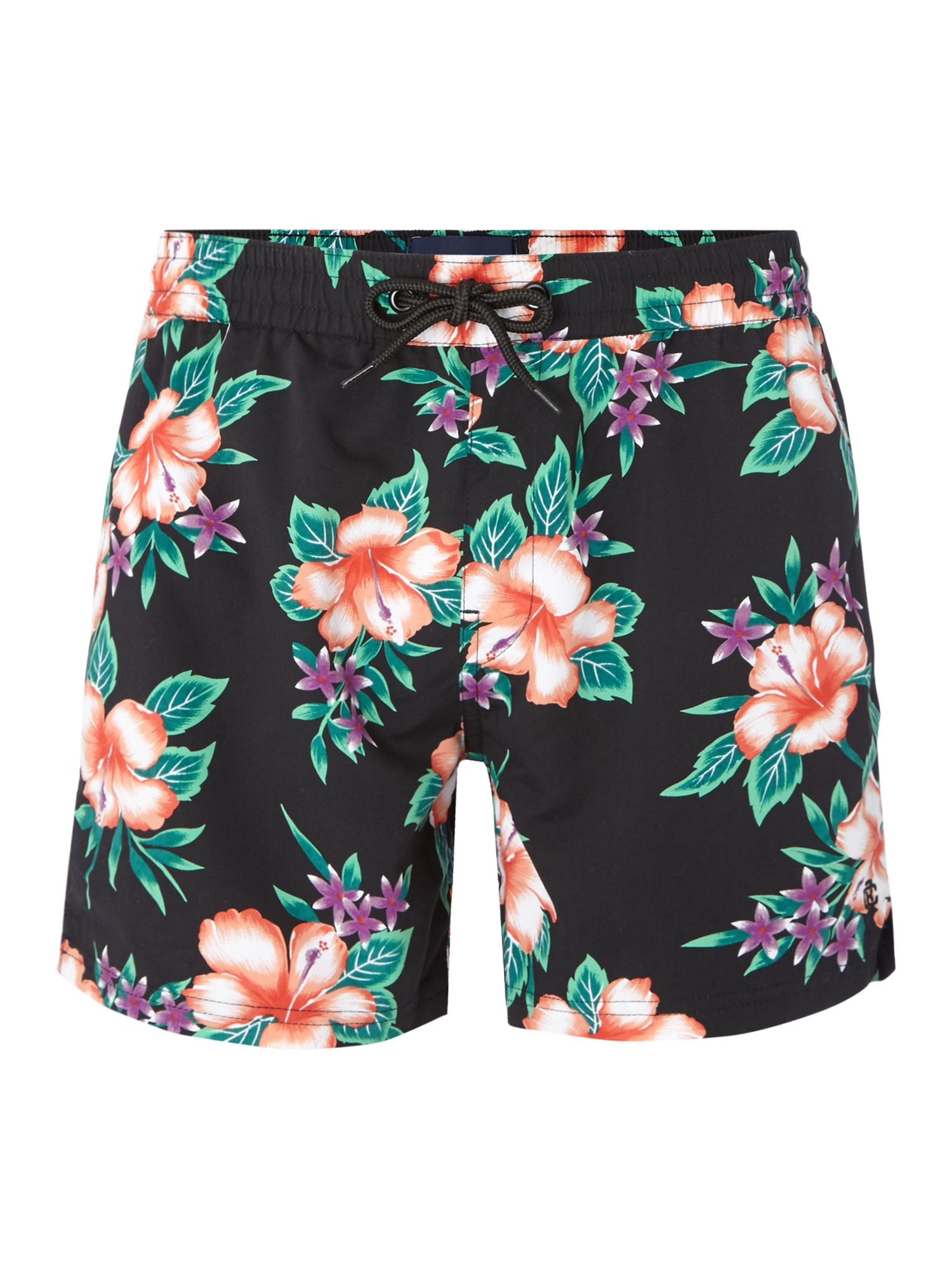 Men's Criminal Short Spec Swim Short With Cuban Floral Print, Black