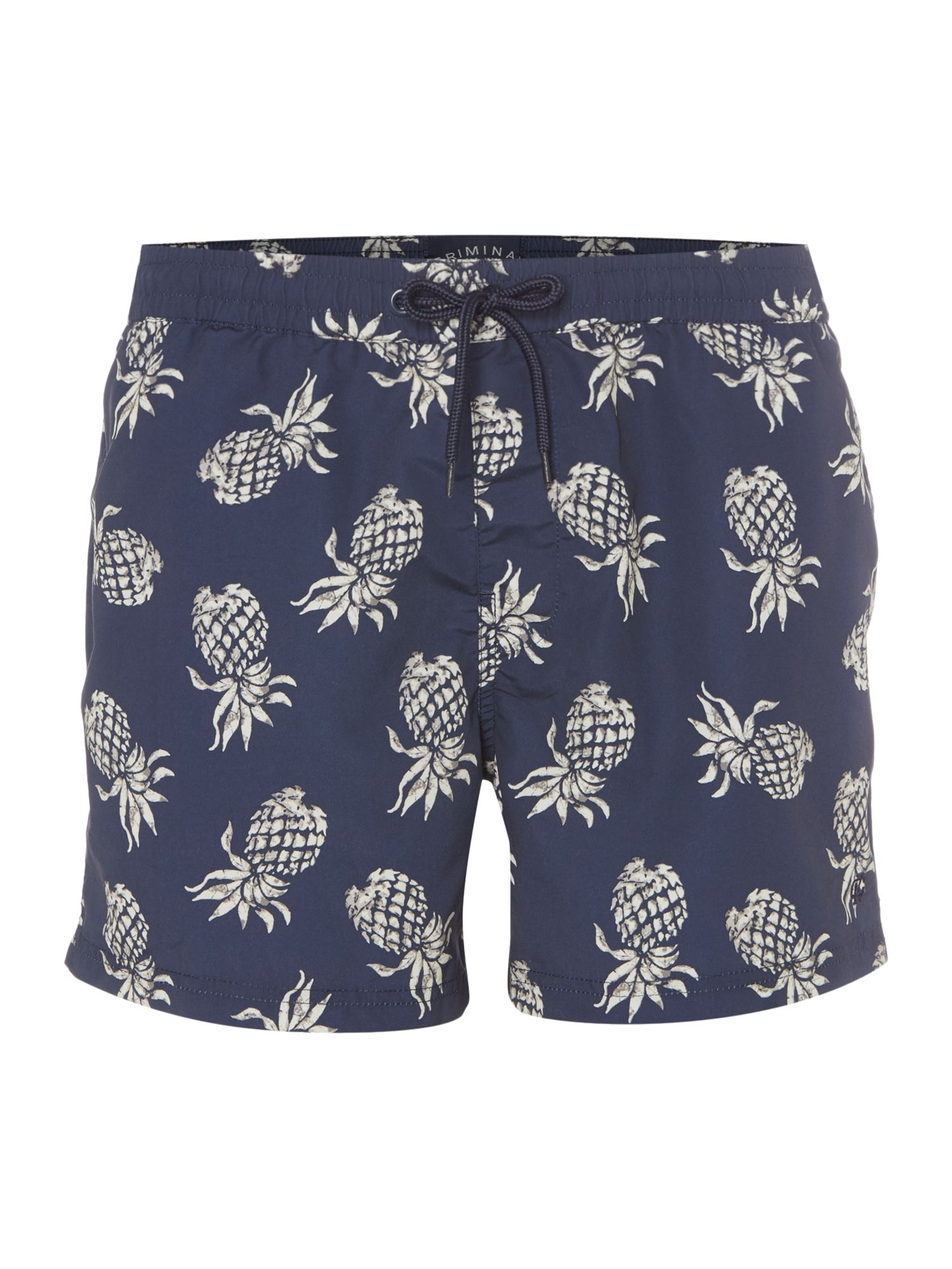 Men's Criminal Short Spec Swim Short With Pineapple Print, Blue