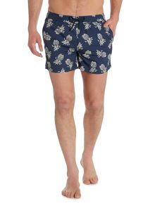 Criminal Short Spec Swim Short With Pineapple Print