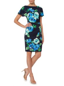 Eliza J Flutter sleeve side tuck shift dress