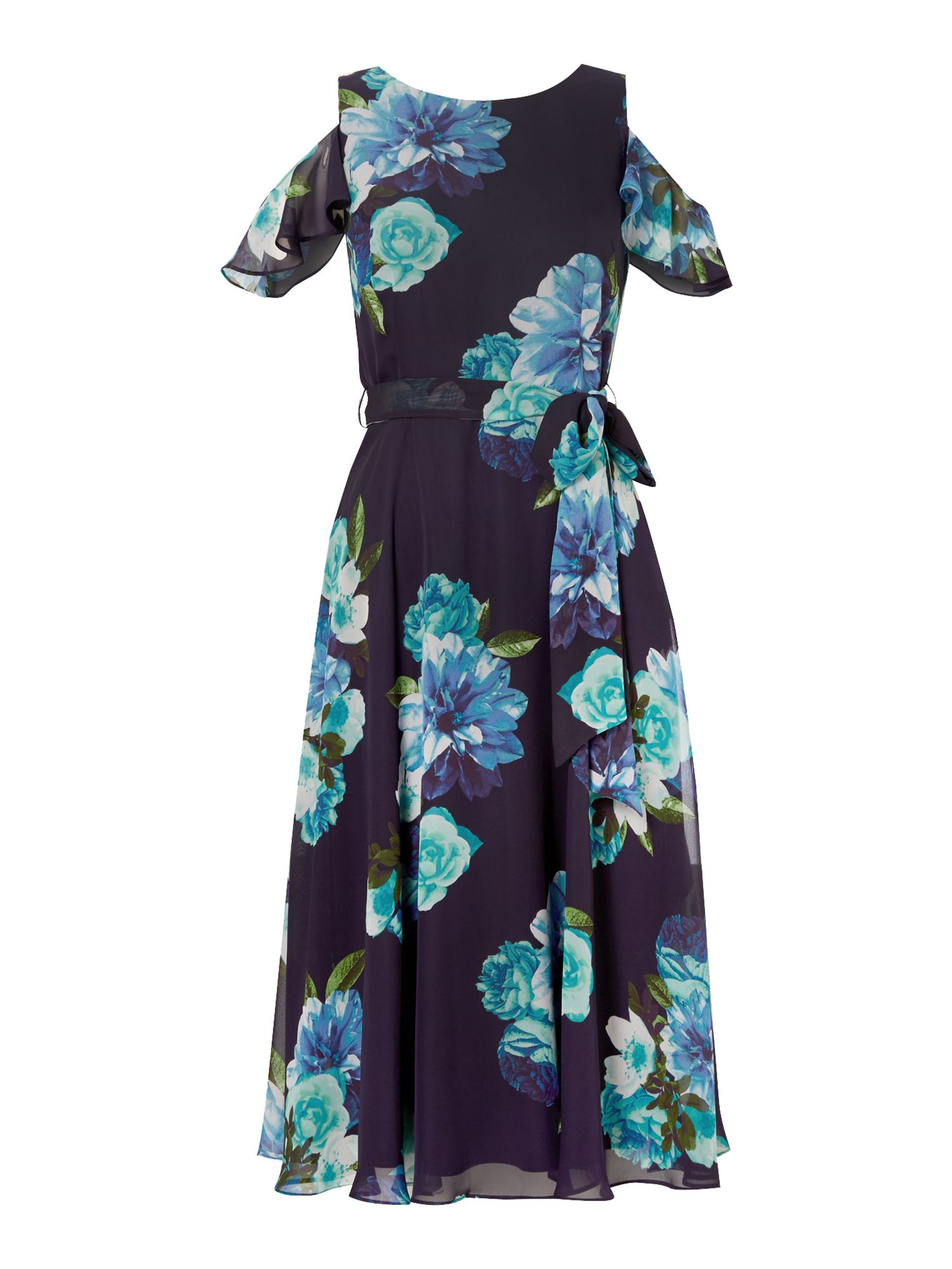 Eliza J Printed floral midi dress with cold shoulder, Blue Multi