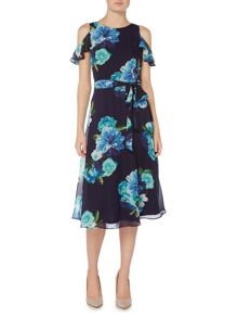 Eliza J Printed floral midi dress with cold shoulder