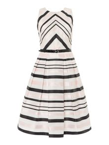 Eliza J Fit and flare contrast striped dress