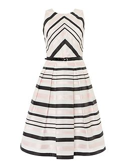 Fit and flare contrast striped dress