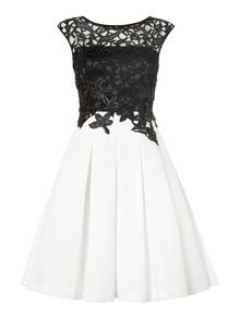 Eliza J Sleeveless lace box pleat dress