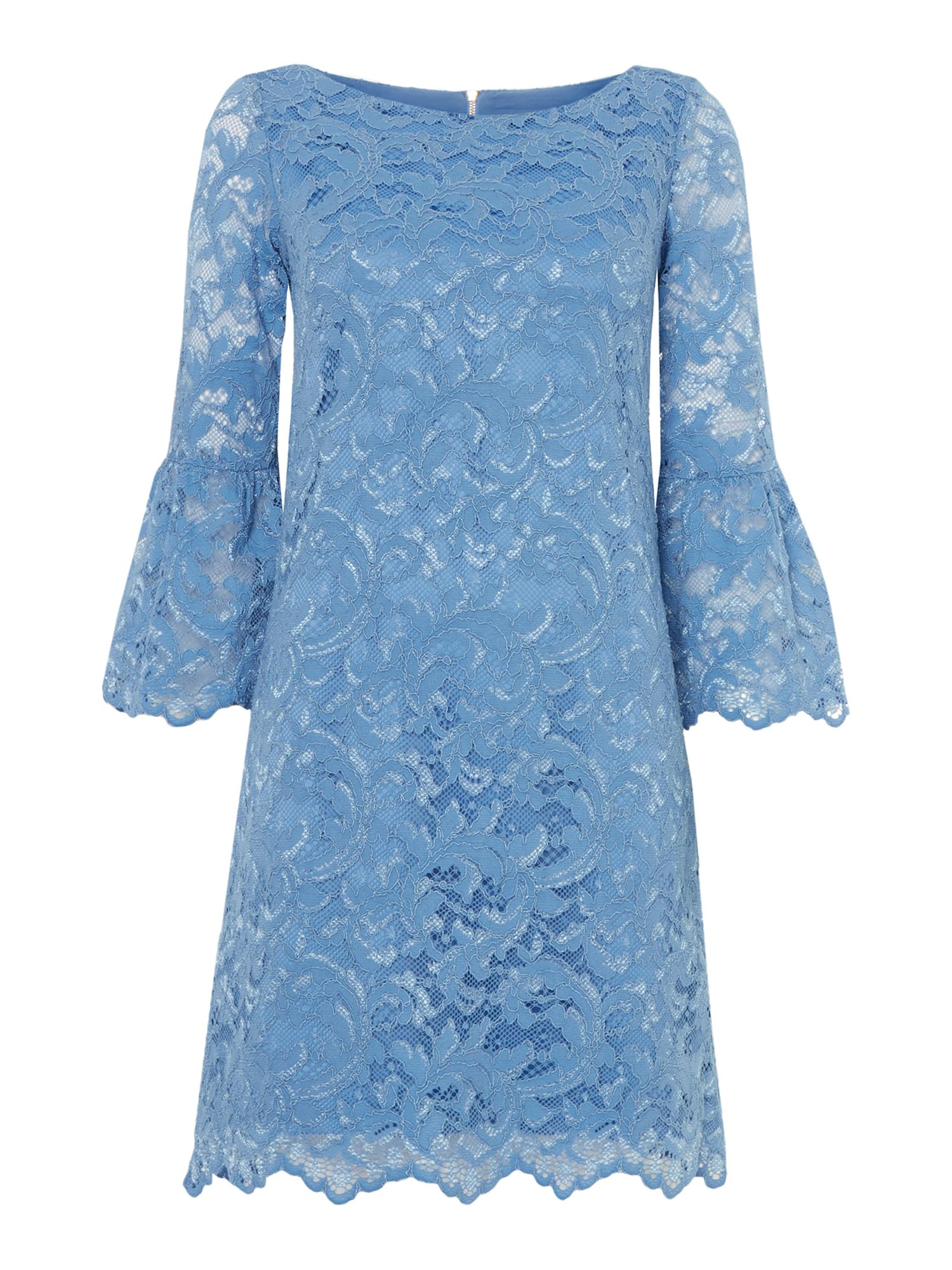 Eliza J Bell sleeved blue lace dress, Blue