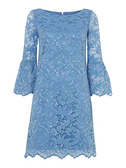 Bell sleeved blue lace dress