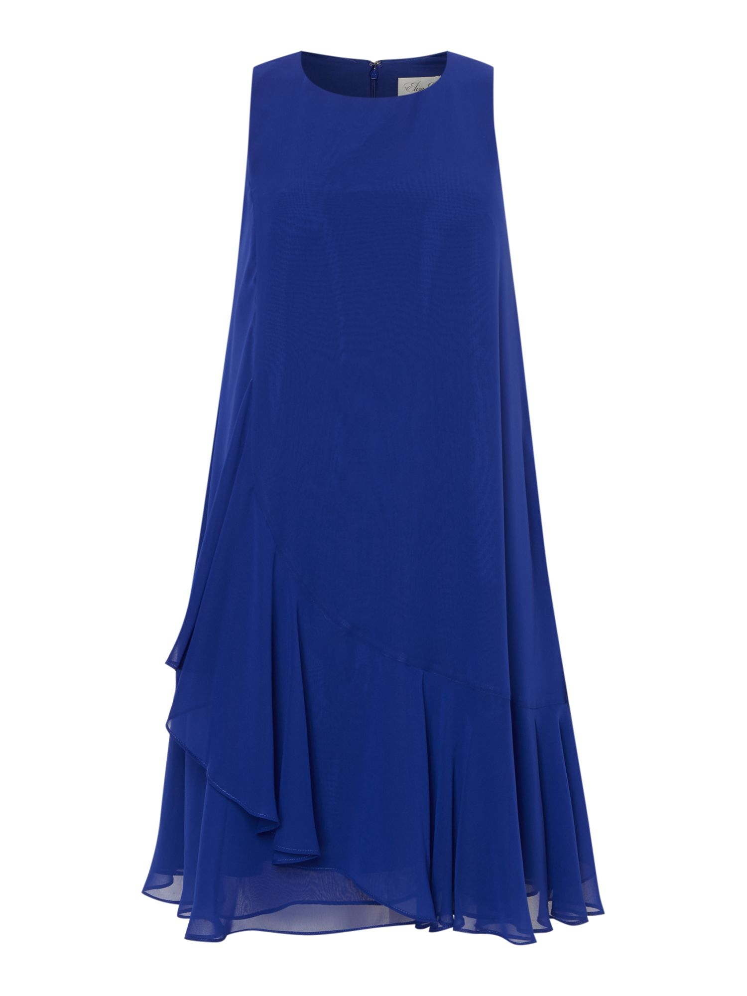 Eliza J Sleeveless chiffon ruffle hem dress, Cobalt