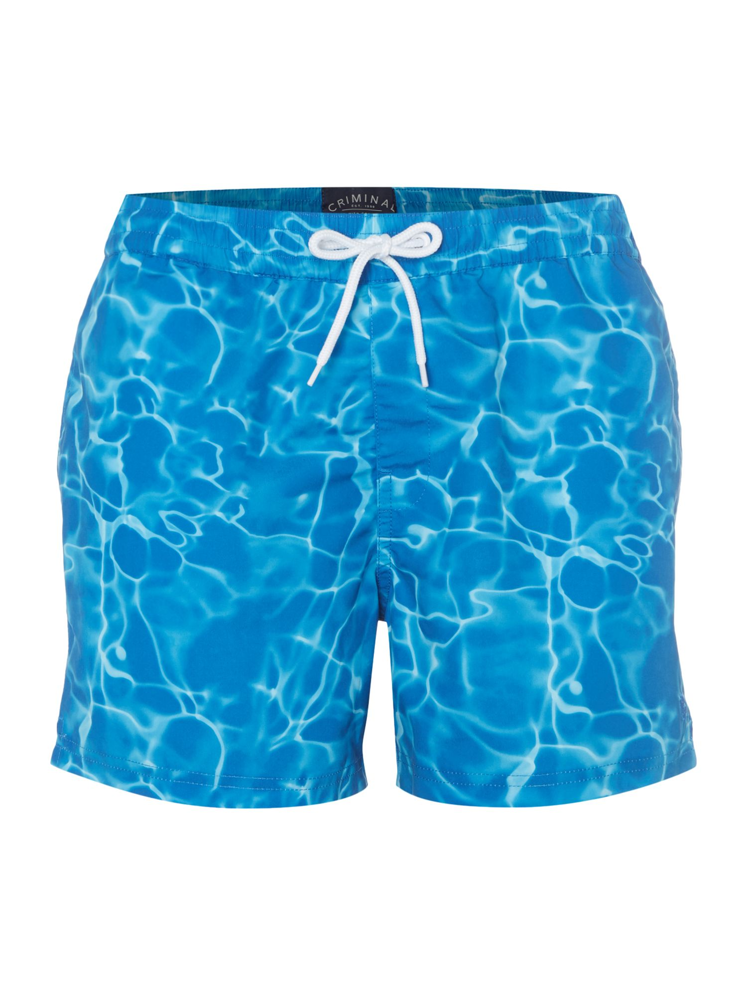 Men's Criminal Short Spec Short With Photo Water Print, Blue