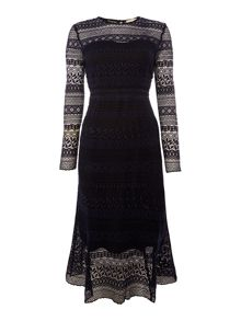 Little White Lies Long Sleeved Lace Shift Dress