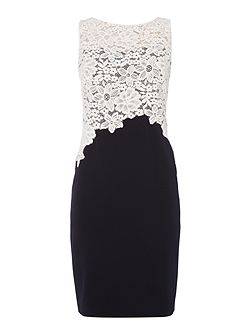Shift dress with lace top