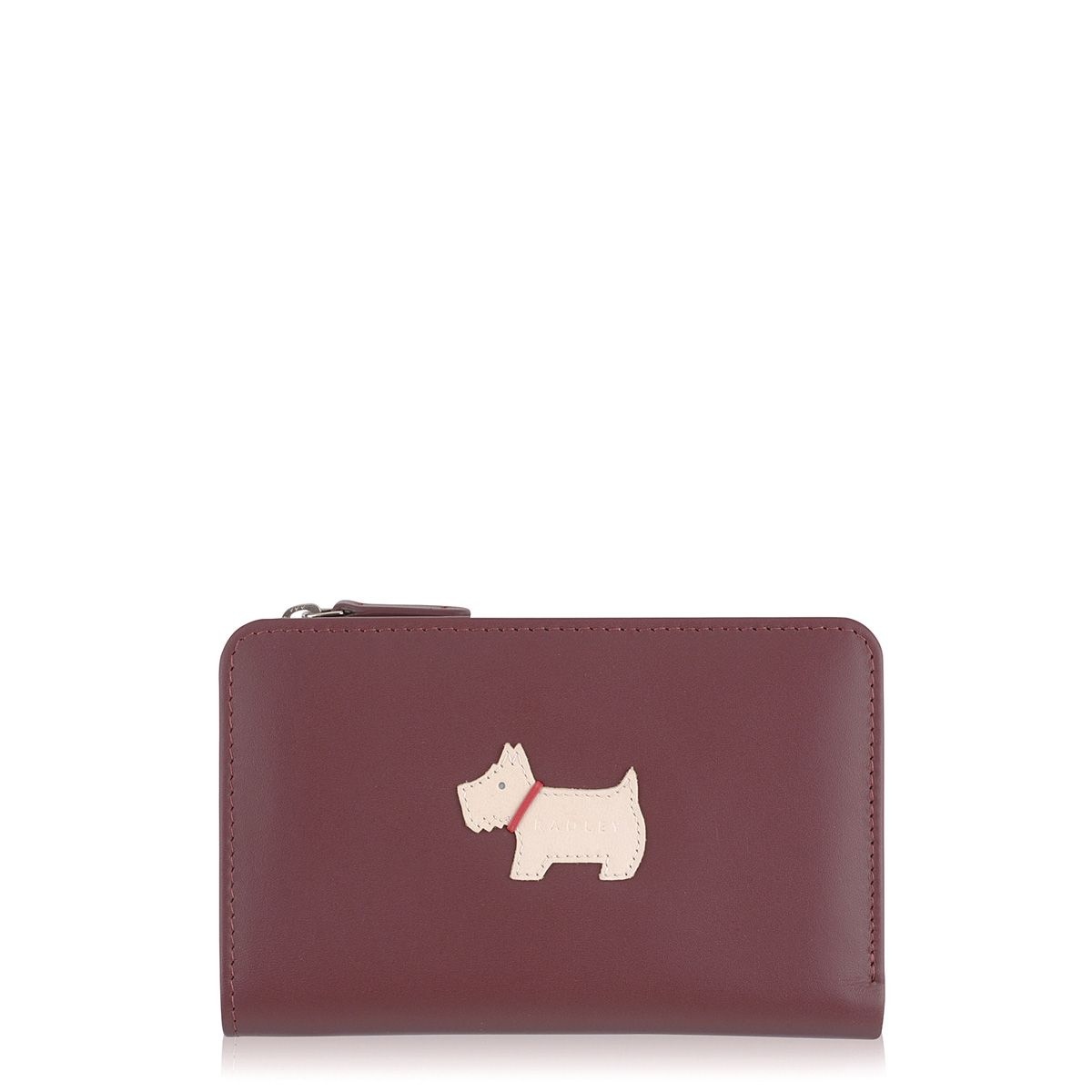Radley Heritage dog medium zip purse Burgundy