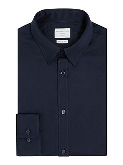 Plain Button-Through Long-Sleeve Shirt