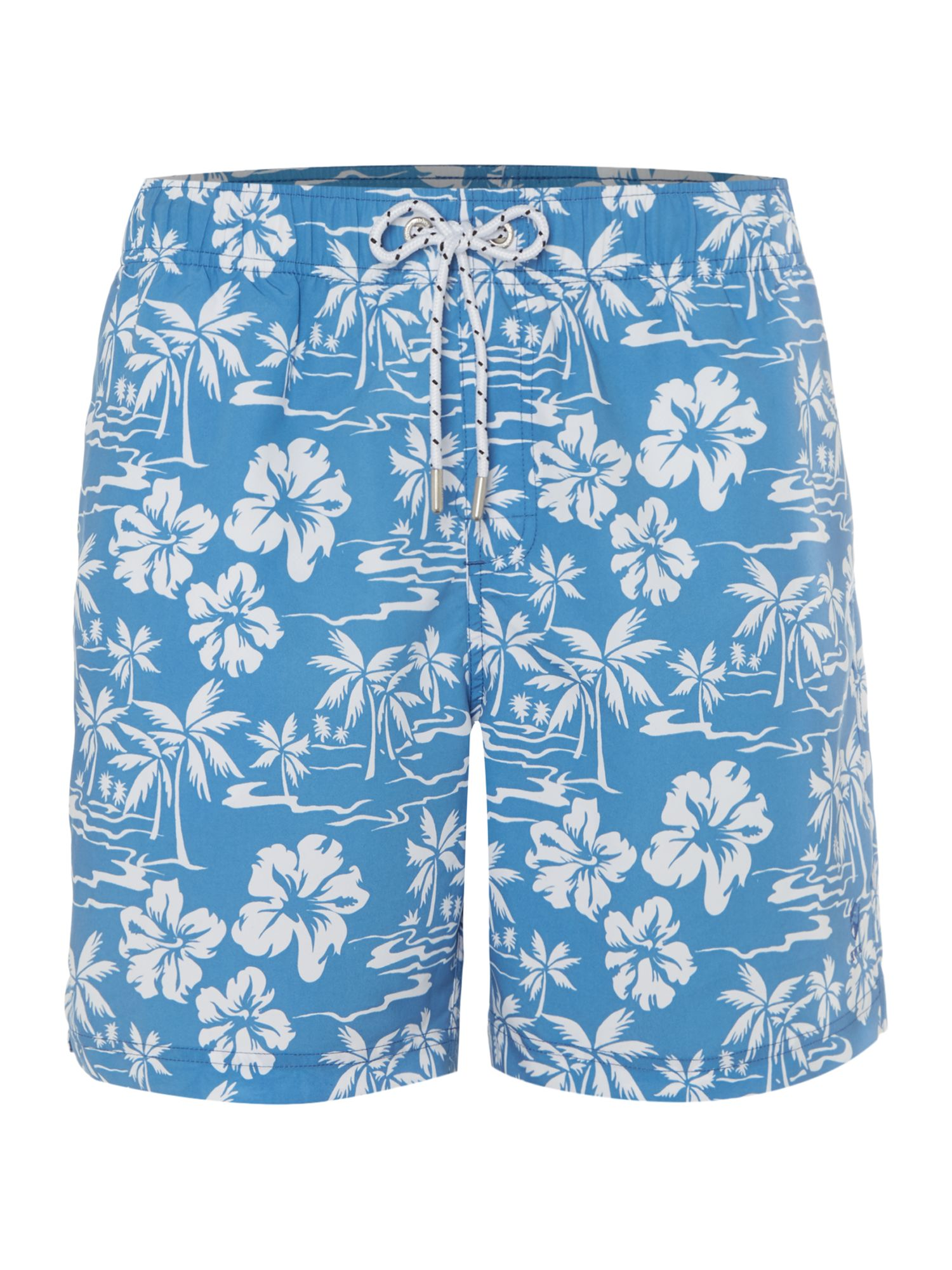 Men's Howick Hawaiian Palm Tree Print Swim Short, Sky