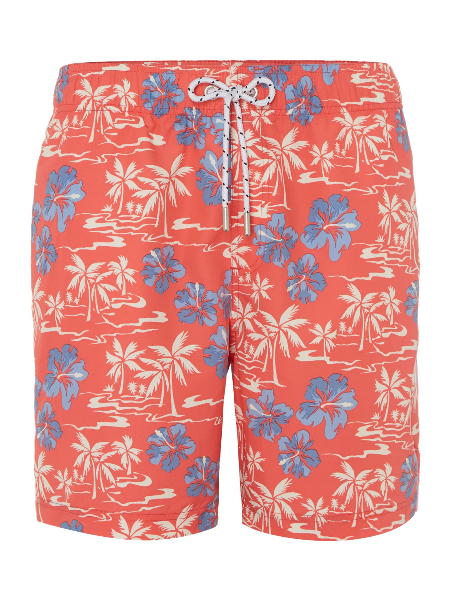 Men's Howick Hawaiian Palm Tree Print Swim Short, Coral