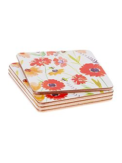 Meadow Floral Cork Coasters Set of 4