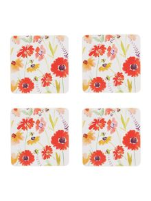 Linea Meadow Floral Cork Coasters Set of 4