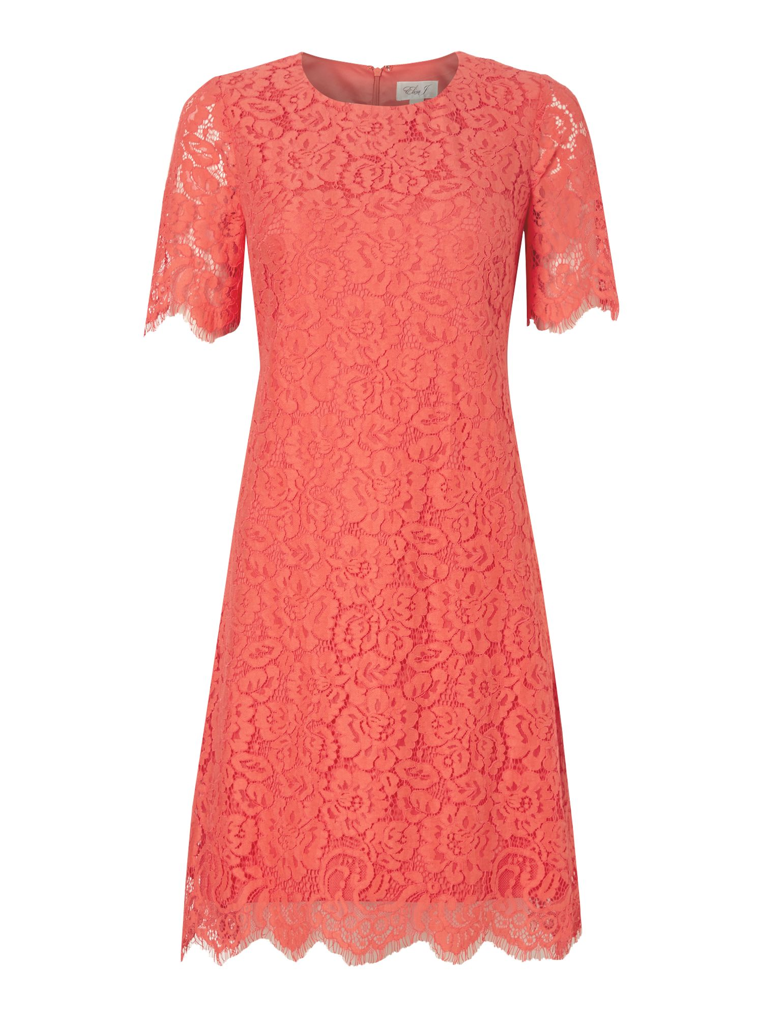 Eliza J Three quarter sleeve floral lace dress, Coral