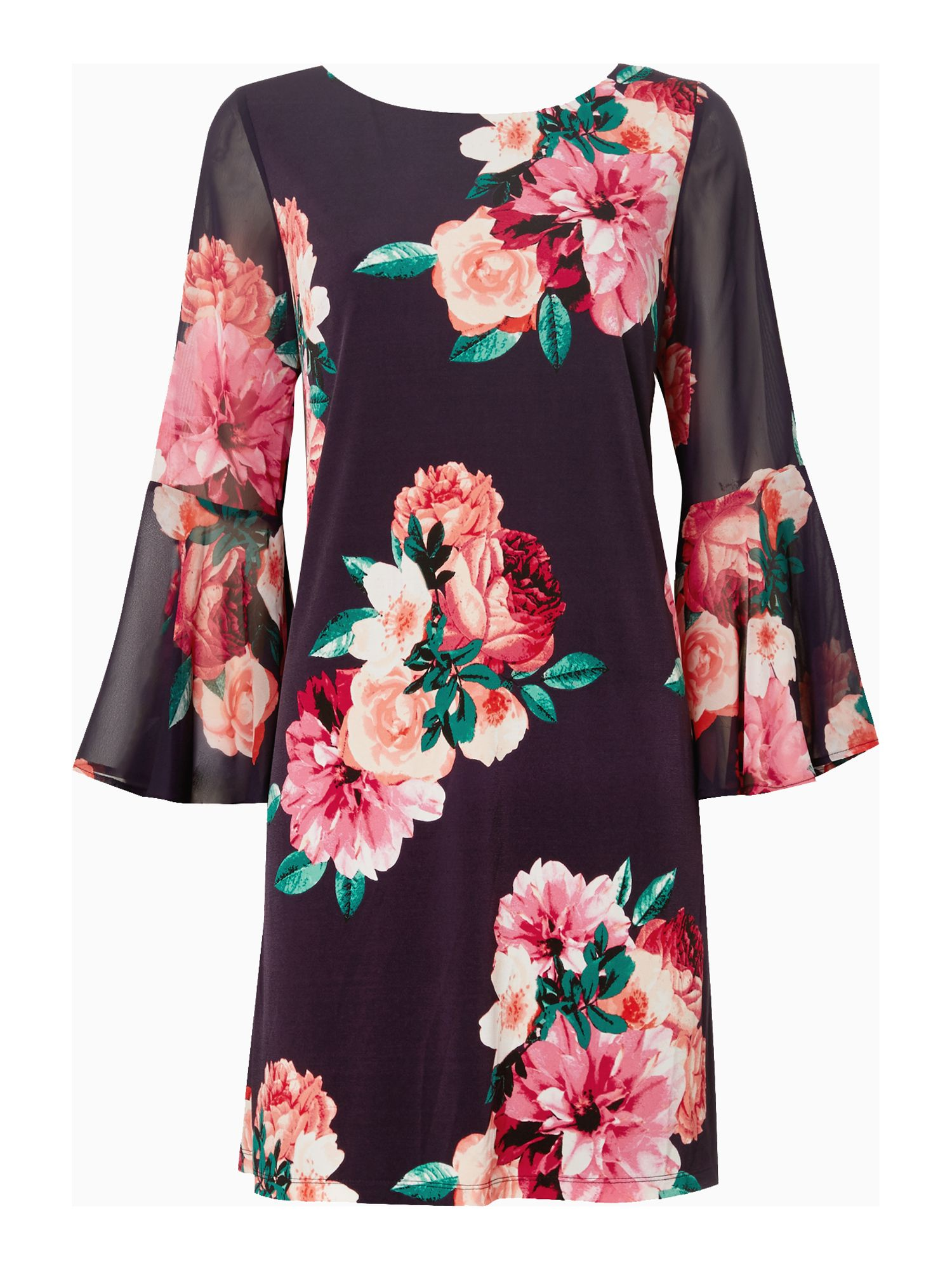 Eliza J Bell sleeve floral shift dress, Pink