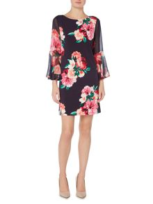 Eliza J Bell sleeve floral shift dress