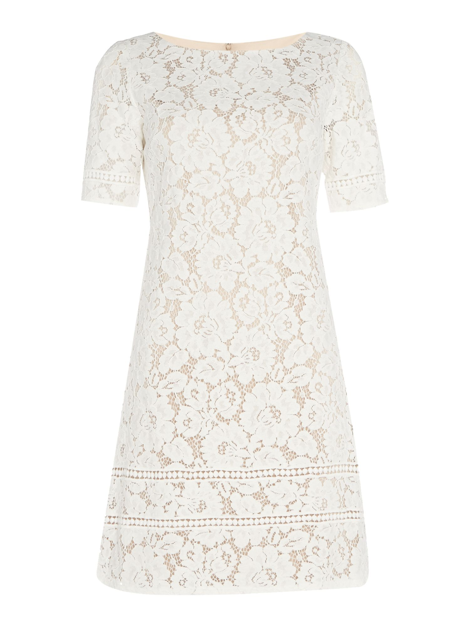 Eliza J Lace shift dress with insert hem, White
