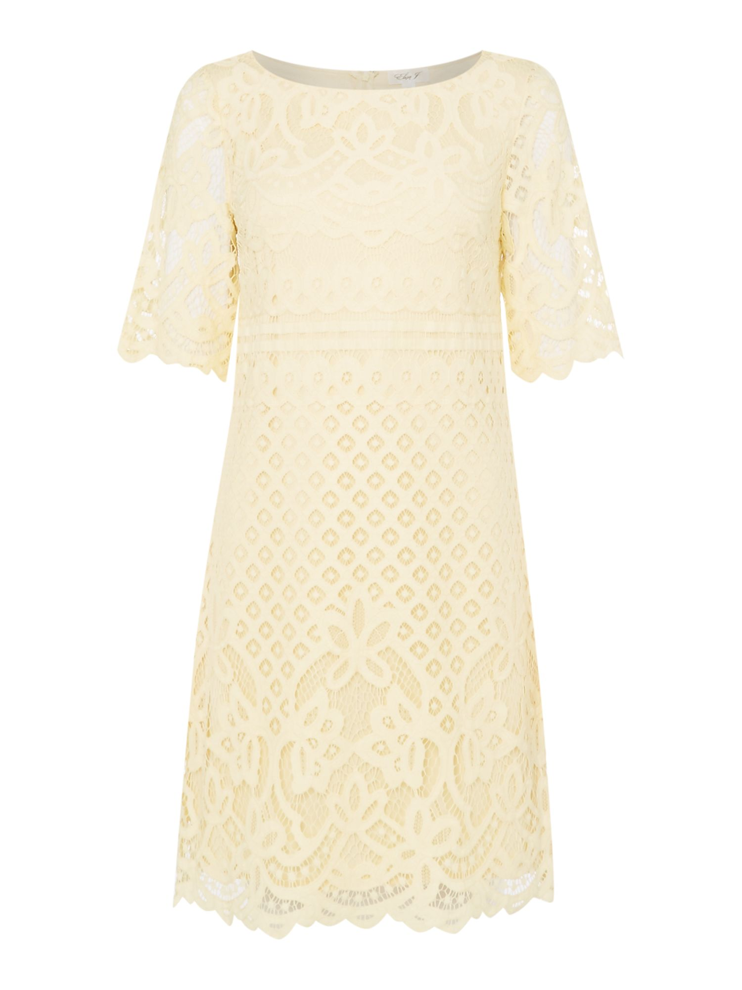 Eliza J Layered lace tea dress, Pastel Yellow
