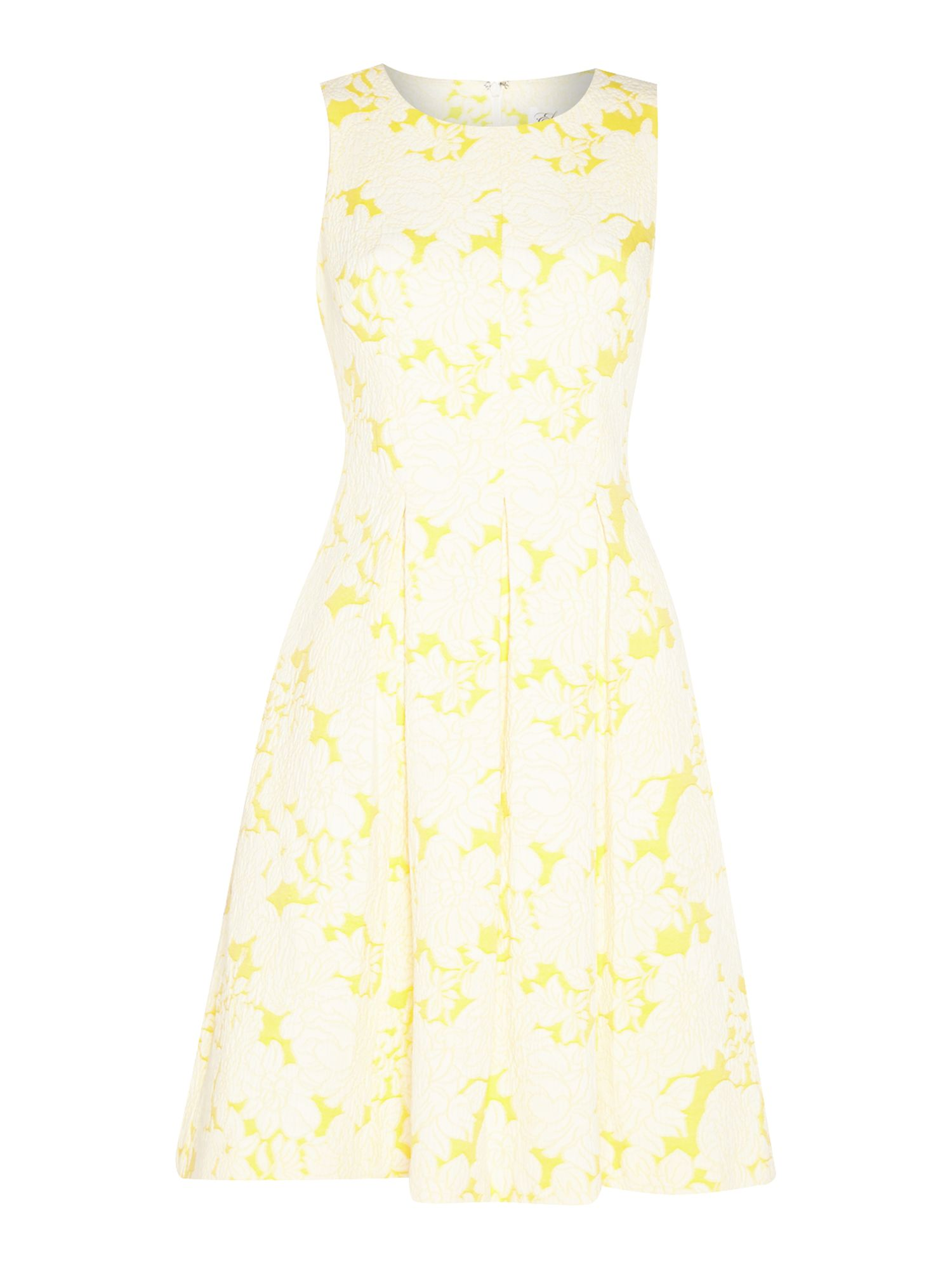 Eliza J Sleeveless floral pleated dress, Yellow