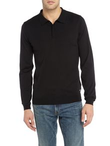 Hugo Boss Iden extra fine long sleeve merino polo jumper